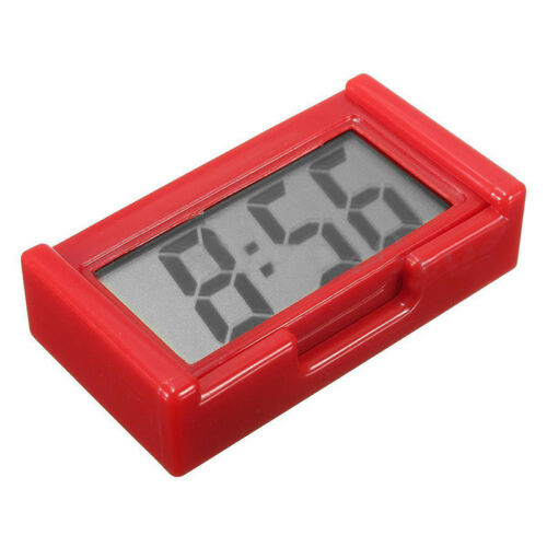 Automotive Digital Car LCD Clock Self-Adhesive Stick On Time Portable Red J3U1