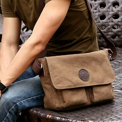 Vintage Canvas Shoulder Bag Messenger School Military Button Bag MENS Carry Easy