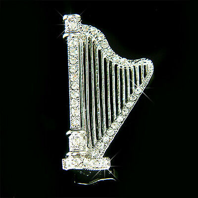 Silver Plated Harp Designed Lapel Pin With Black Ireland Text