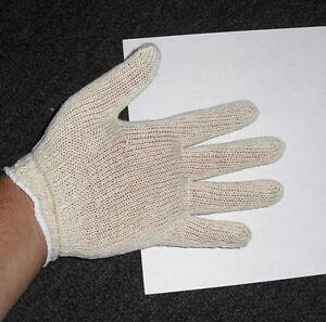100% Cotton Non-Bleached, Mens Knit Inspection Gloves - One Dozen