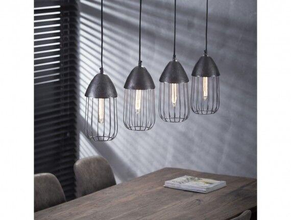Hängelampe Hängeleuchte GITTER Metallgestell Industrial Design 4 Leuchten rund