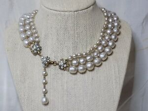 Miriam-Haskell-Champagne-Baroque-Pearl-Necklace-3-Strand-Graduated-Flower-Clasp