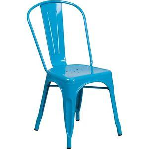 Flash Furniture ET-3534-CB-GG Crystal Blue Metal Indoor-Outdoor Stackable Chair