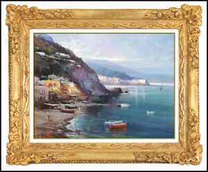 Claudio-Simonetti-Original-Painting-Oil-On-Board-Signed-Seascape-Italy-Framed