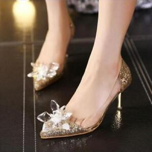 Womens-Kitten-Heel-Pointy-Toe-Sequins-Crystal-Glitter-Pumps-Clear-Shoes-Wedding