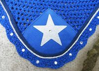 Fly Veil Ear Net Mask Bonnet Diamante Royal Blue Silver & Navy Star Full