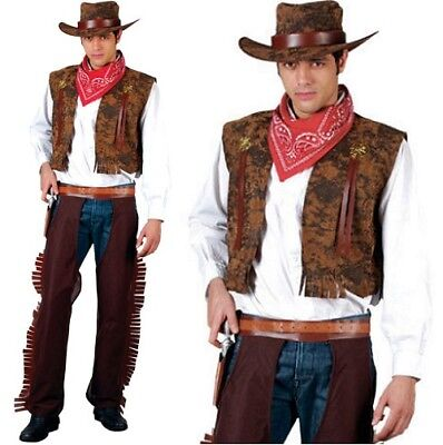 """FANCY DRESS MENS COWBOY OUTFIT FITS TO 44/"""" CHEST"""