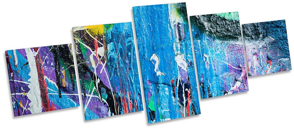 Graffiti Grunge Blau Framed CANVAS PRINT Five Panel Wall Art