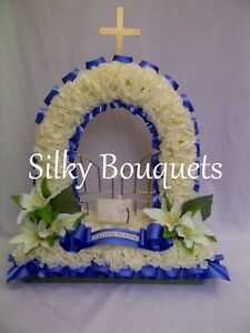 Silk-Funeral-Flowers-Gates-of-Heaven-Artificial-Wreath-Memorial-Tribute-False