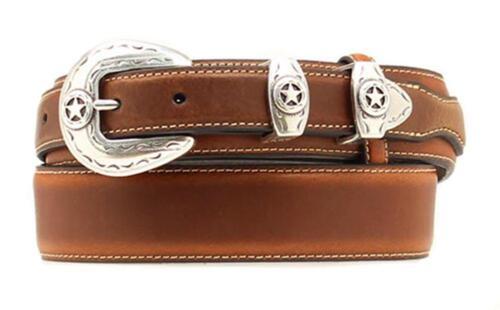 Nocona Western Mens Belt Leather Ranger Star Concho Brown N2481802