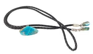 Beautiful-Bolo-Tie-Turquoise-Colored-Polished-Jasper-Slider-amp-Tips-Faux-Leather
