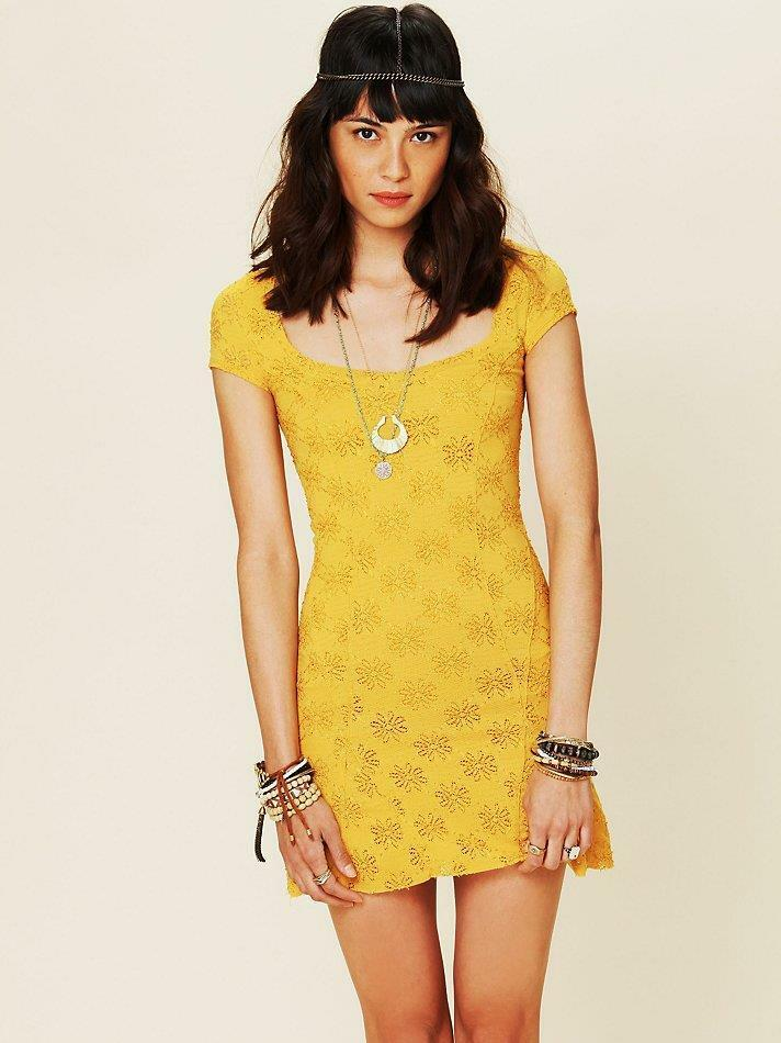Free People Gelb Daisy Godet Lace Slip Dress sz M Retail