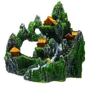 Fish tank mountain view river m aquarium ornament decor for Aquarium waterfall decoration
