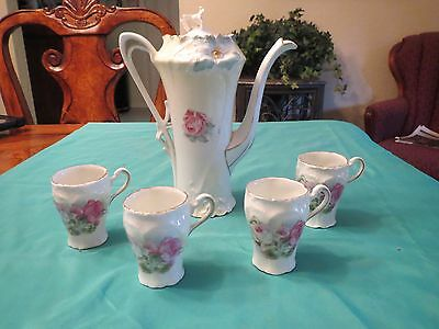 RS Prussia Antique Chocolate Pot Tea Pot with 4 cups Pink Rose Pattern
