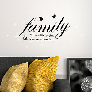 16501d9ae48c Image is loading Swarovski-Crystals-amp-Family-Quotes-Murals-Decals-Home-