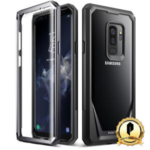 Poetic-Samsung-Galaxy-S9-Plus-Case-Guardian-Rugged-Clear-Hybrid-Bumper-Black