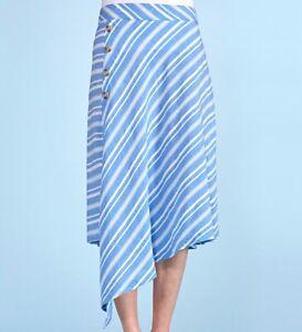FRESH PRODUCE Medium BLUE $75.00 Selena SURFSIDE Stripe BEACH Pants NWT New M