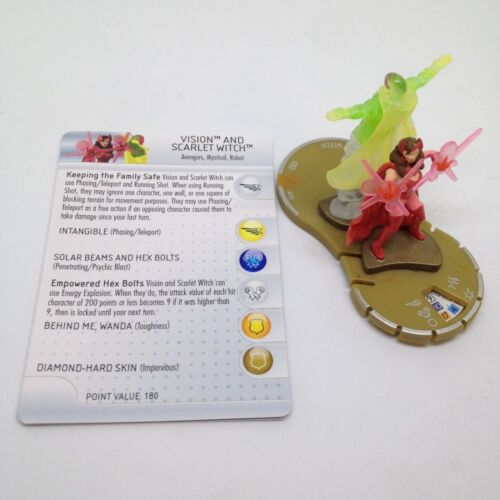Heroclix Chaos War set Vision and Scarlet Witch #055 Chase figure w//card!