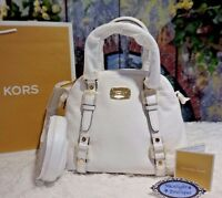 NWT Michael Kors BEDFORD MD Bowling Satchel Bag Pebbled Leather OPTIC WHITE $328