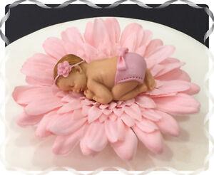 Phenomenal Baby Girl Pink Daisy Flower Cake Topper Christening Baby Shower Funny Birthday Cards Online Amentibdeldamsfinfo