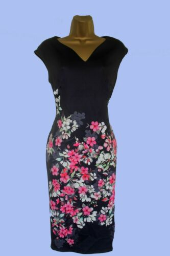 New Ex Wallis Navy Blue Floral Shift Scuba Dress 8 10 12 14 16 18 20