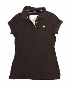 Abercrombie-amp-Fitch-Women-039-s-Polo-T-Shirt-Brown-Medium-Stretch-S-S-Cotton-Blend