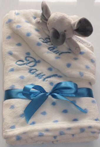 Baby Set Kuscheldecke und Kuscheltuch mit Elefant oder Hasen  und Namen
