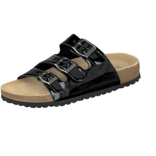 Supersoft Damen Hausschuhe 274-856 3er Riemen schwarz glänzend Leder-Fußbett NEU