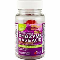 3 Pack Phazyme Gas+ Acid Maximum Strength, 250 Mg, Cherry, 24 Coated Chews Each on sale