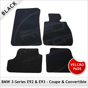 BMW-3-Series-E92-Coupe-2006-2013-Velcro-Pads-Tailored-Carpet-Car-Mats-BLACK