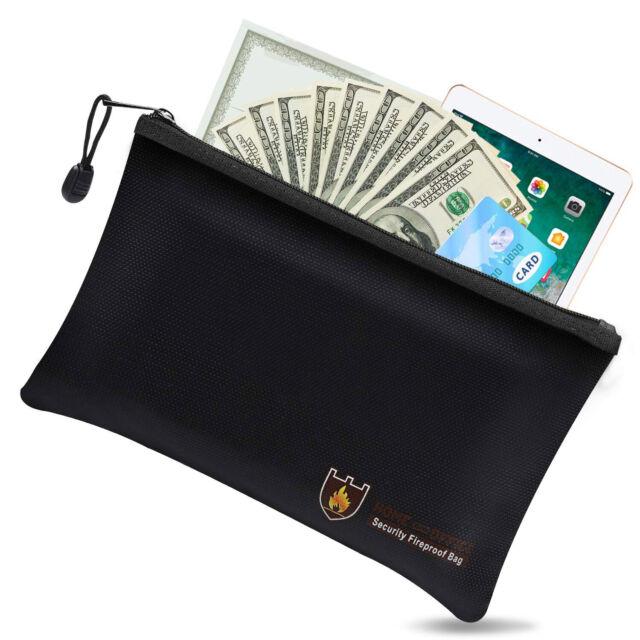 Fireproof Water Resistant Money Bag Envelope Safe Doent File Pouch Case