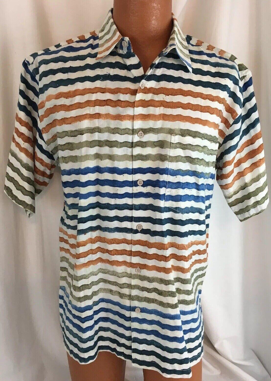 NWT () Pete Huntington Men's Ocean Key S S Button Front Cotton Shirt  Sz S