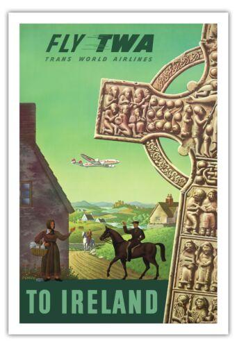 Ireland Celtic Cross TWA Vintage Trans World Airlines Art Poster Print Giclee