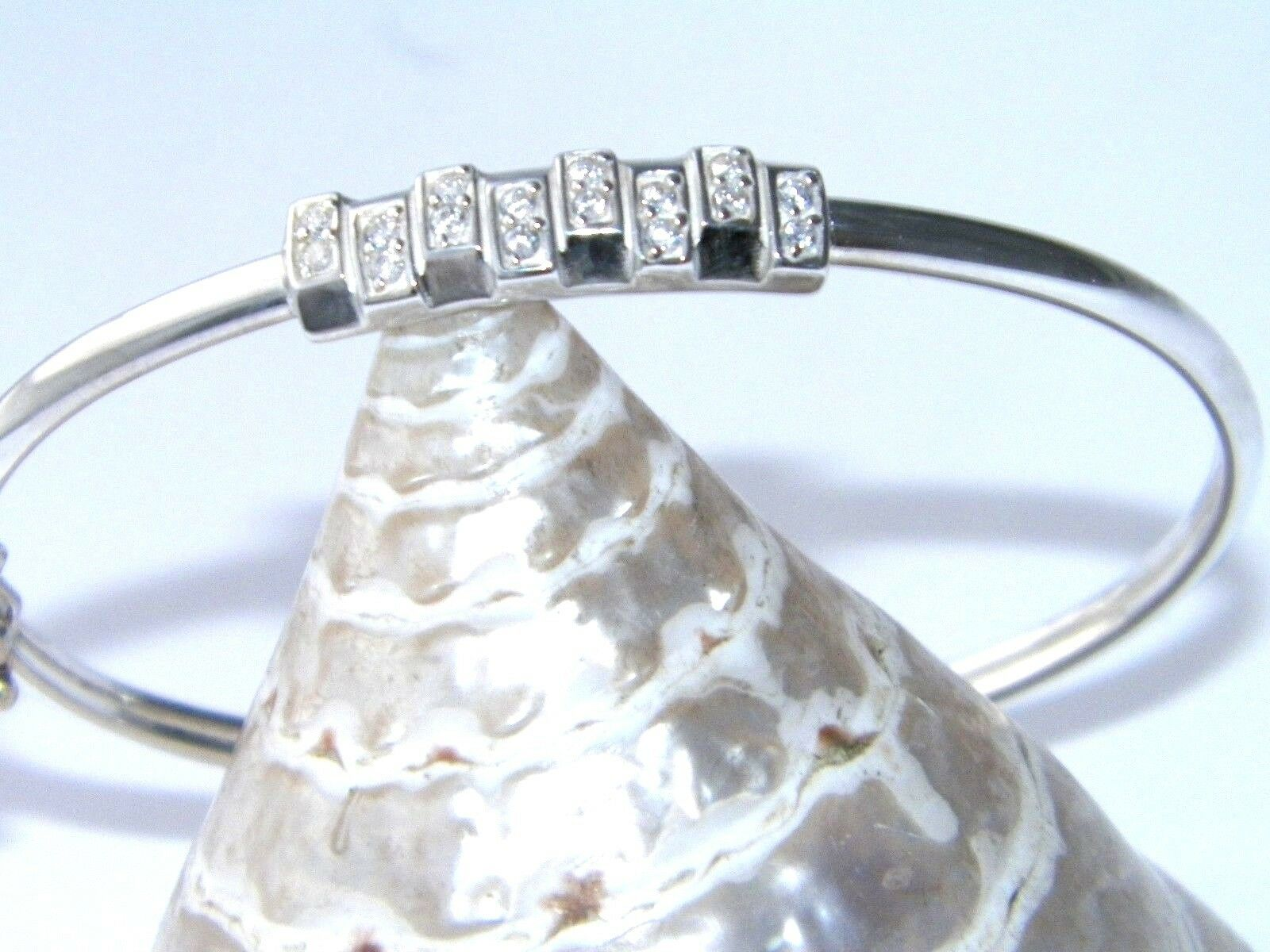 Handcrafted925Sterling Silver Cubic Zirconia Stones Bangle Cuff 925 Bracelet7.5