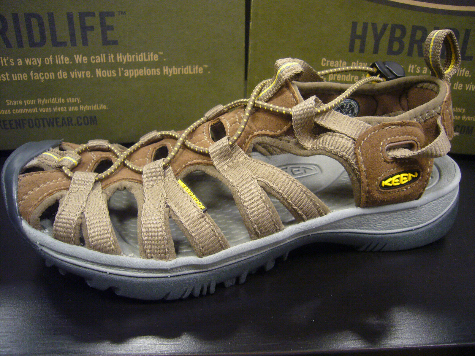 KEEN WOMENS WHISPER COFFEE LIQUEUR YELLOW SIZE 6.5