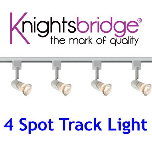 Knightsbridge 4x Spot Track Lighting Kit LED Spotlight 2 Metre 2m White GU10