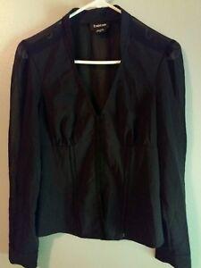 0a18aa57ac16c Bebe Women s Size Medium Blouse Black Long Sleeve Top V-Neck