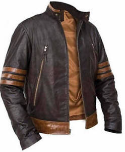 X-Men Wolverine Origins Bomber Style Brown Real Leather Jacket   eBay d7354a374db5