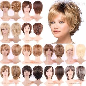Mommy-Style-Short-Hair-Wigs-Curly-Straight-Ombre-Brown-Blonde-Synthetic-Full-Wig