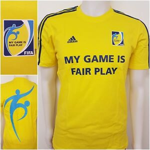 Details zu adidas 3 Streifen T Shirt FIFA TEE M Fair Play Trikot Shirt Fußball WM 2014 O