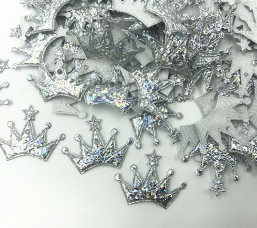 200X Brillante Apliques corona forma Fit Parche Tela Decoración Artesanal Hágalo usted mismo 24mm