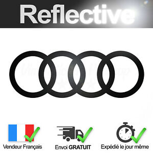 Sticker-AUDI-Noir-Retro-Reflechissant-16-cm-Autocollant-Logo-Black-Reflective