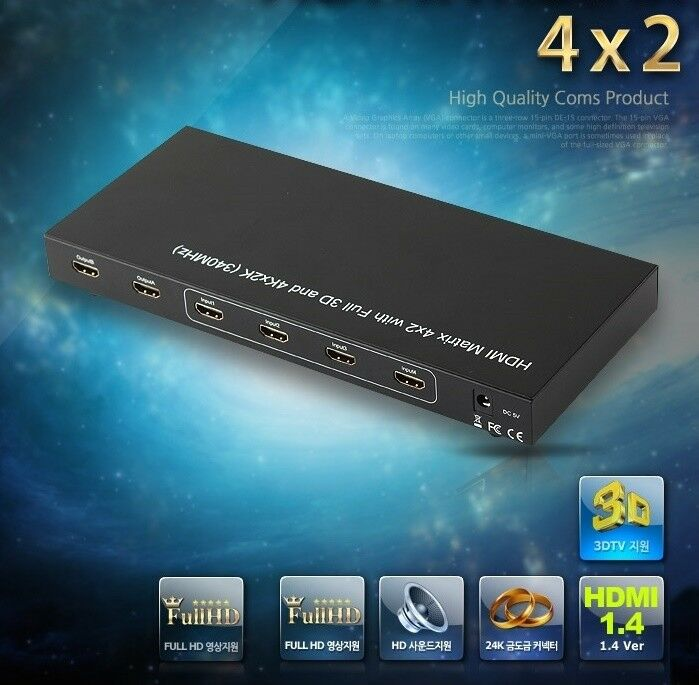 HDMI 1.4 selector HDMI Matrix 4x2with Full 3D and 4Kx2K(340MHz)