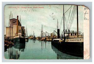 North-Branch-Harbor-Chicago-River-Chicago-IL-c1907-Postcard-Z9