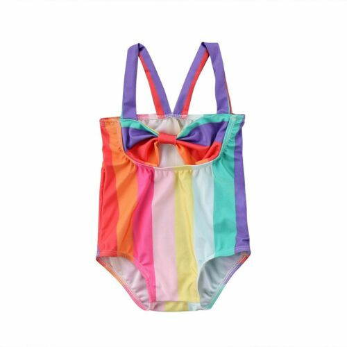 Mignon bébé fille à rayures arc-en-maillot de bain de baignade Beachwear Bow Summer Chiffon 2T-6M