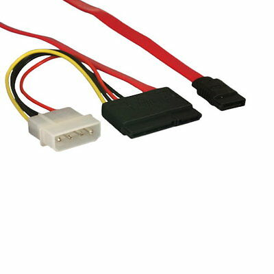 12 in Slim-line SATA Data Power Cable Adapter 26AWG 7+6 13 Pin Molex PC Notebook