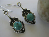 Turquoise Silver Earrings Himalayan Sterling Artwork