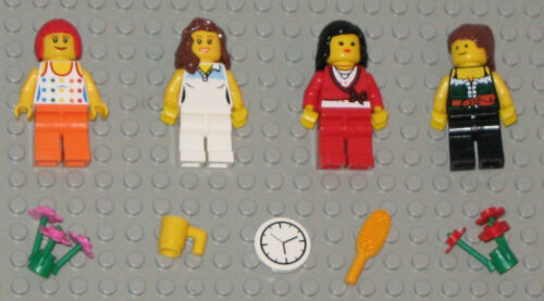 Lego MINIFIGURES 4 Women Girls Lady People Flowers Female Town Minifigs Toys