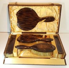Vintage Vanity Grooming Set Gilt Detail Faux Tortoiseshell Hair Brush Mirror