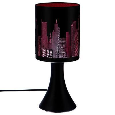 Lampe New York Rose / Noire  Métal Tactile 3 Intensités  Déco Chevet